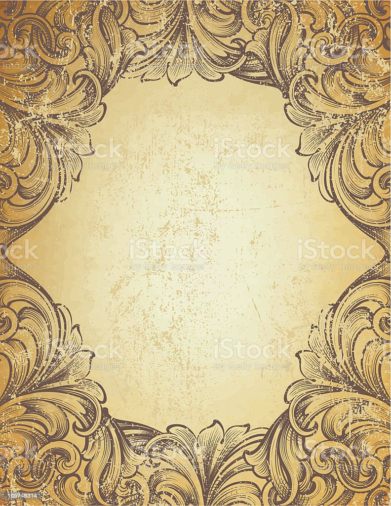 Scrollwork Frame Grunge royalty-free stock vector art
