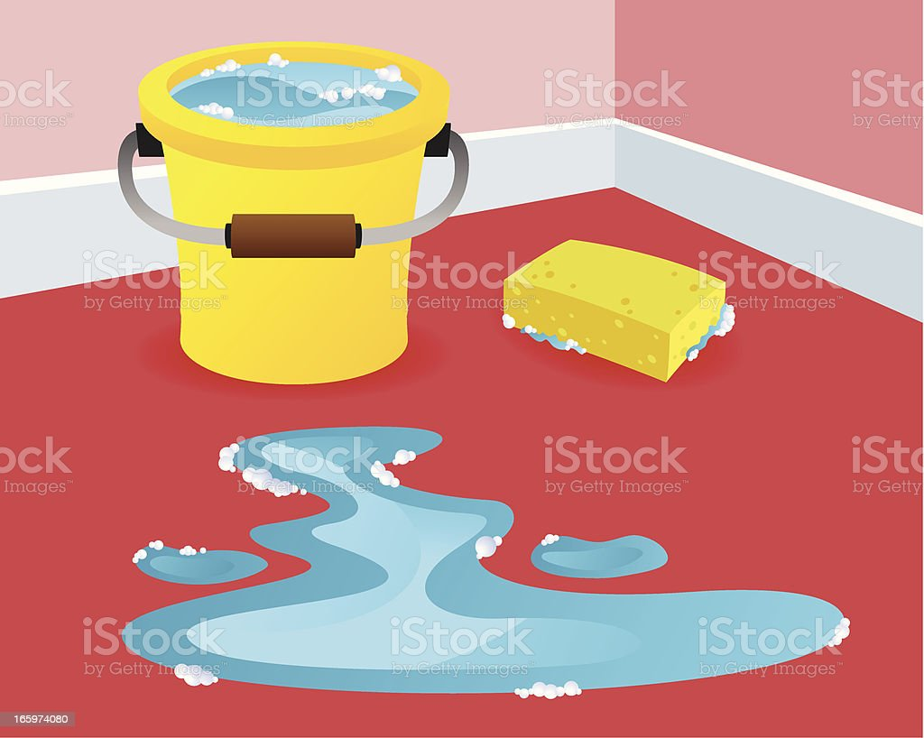 Scrubbing the floor vector art illustration