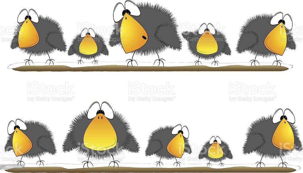 Scruffy Birds - On Perch royalty-free stock vector art