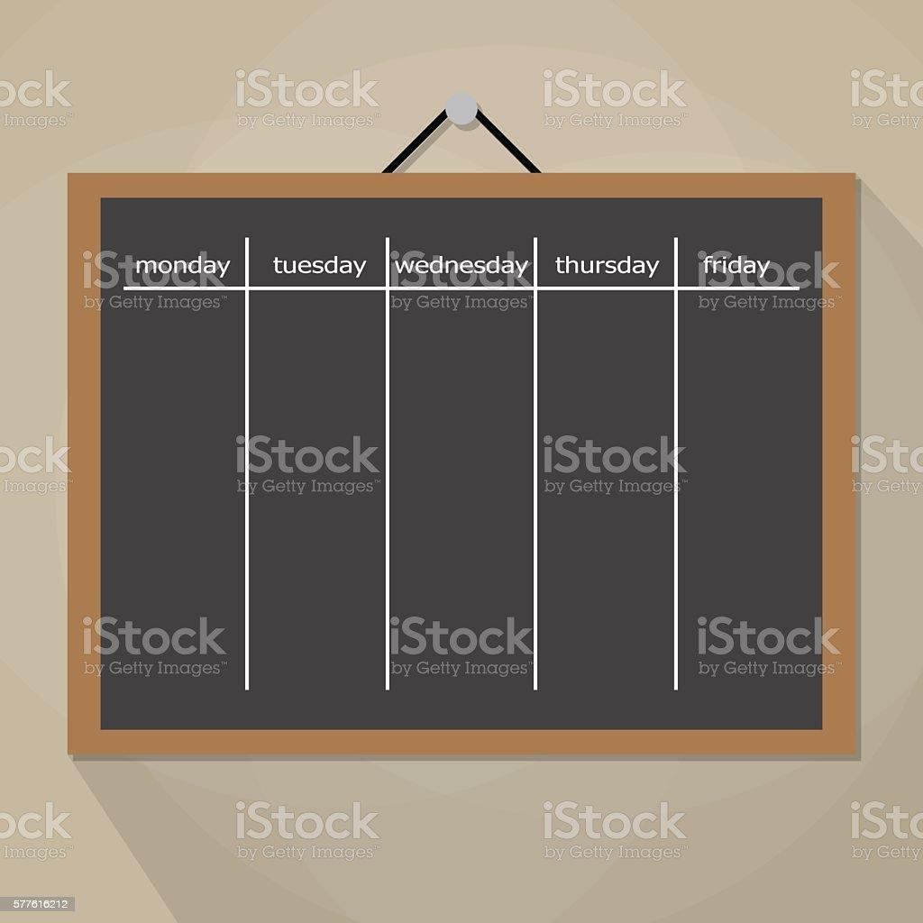 Scrum task board hanging on wall vector art illustration