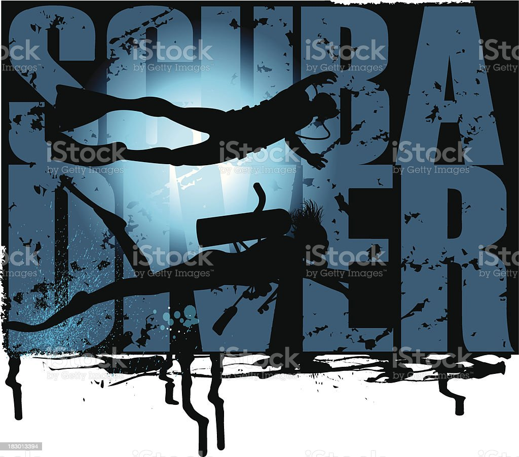 Scuba Diver Grunge Graphic royalty-free stock vector art