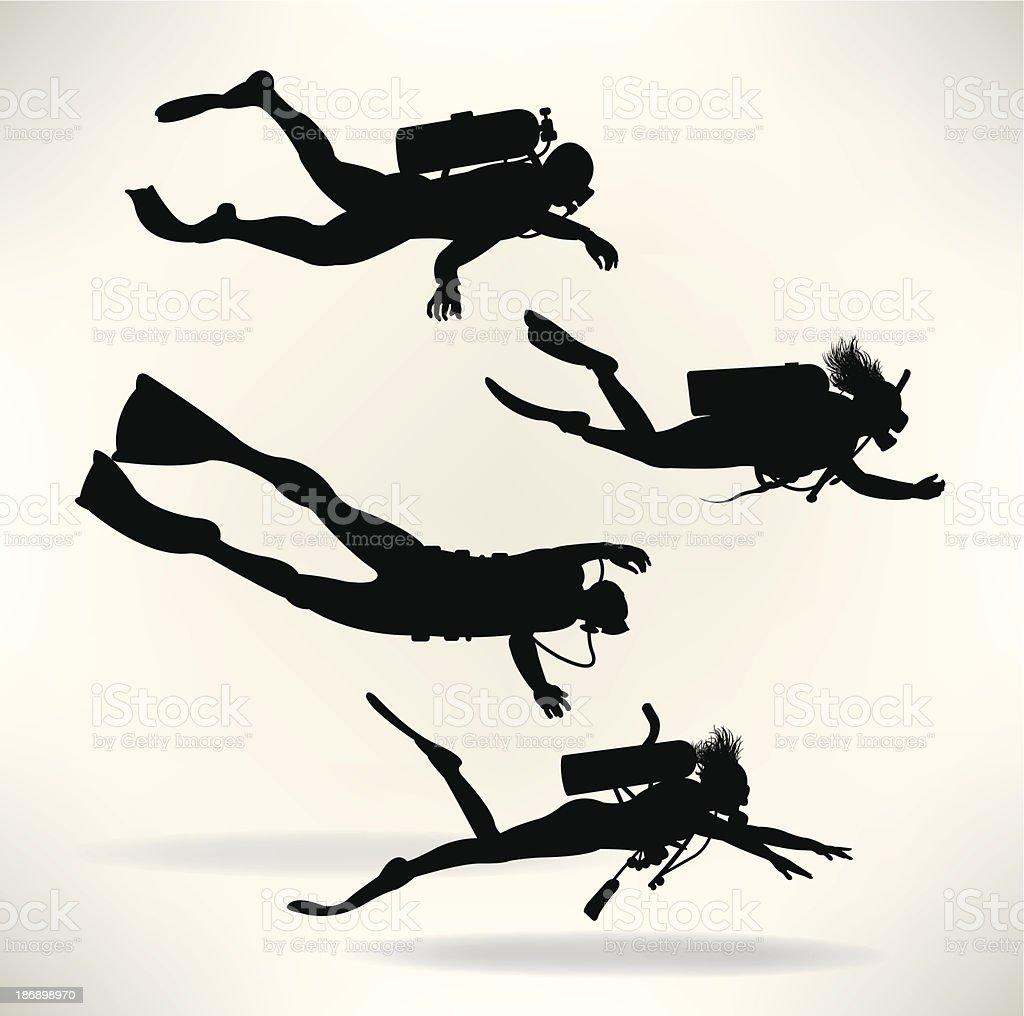 Scuba Divers - Deep Sea Diving vector art illustration