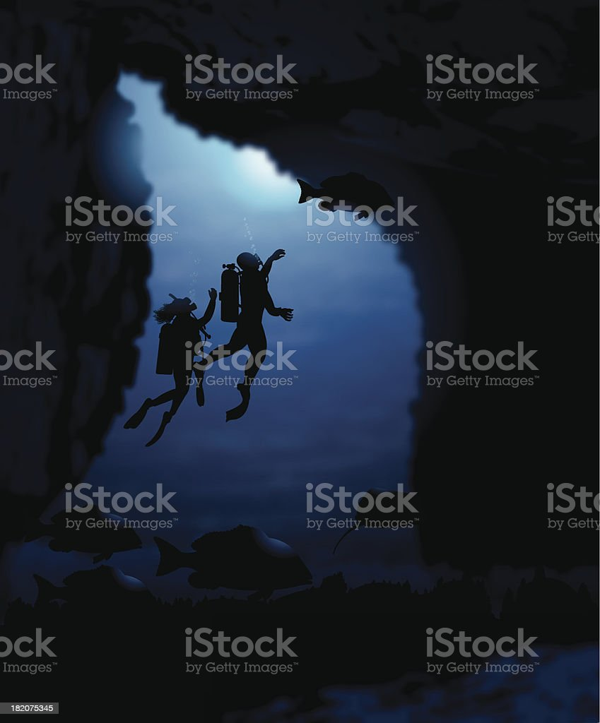 Scuba Divers in Cave with Fish Background royalty-free stock vector art