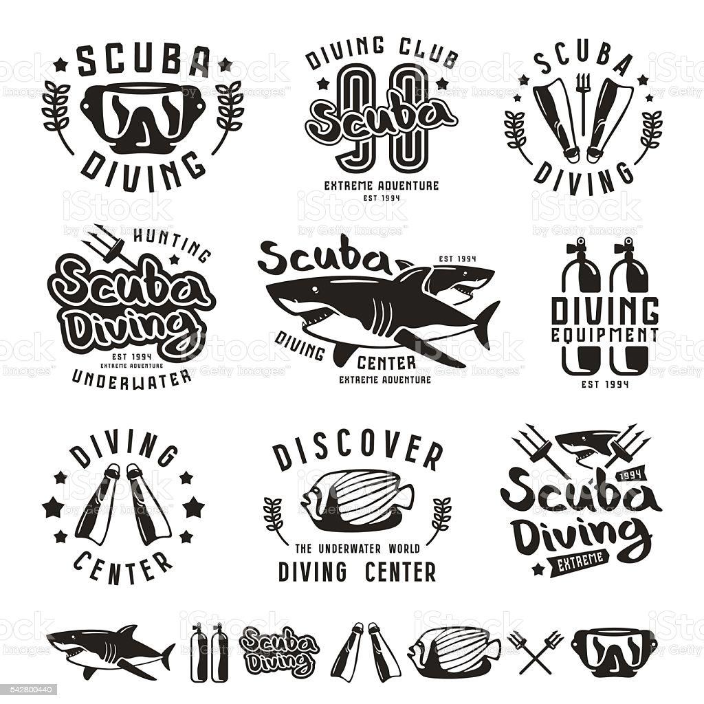 Scuba diving emblems vector art illustration