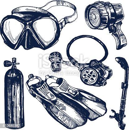스쿠버 다이빙 장비를 도면 설정 일러스트 512685382  iStock
