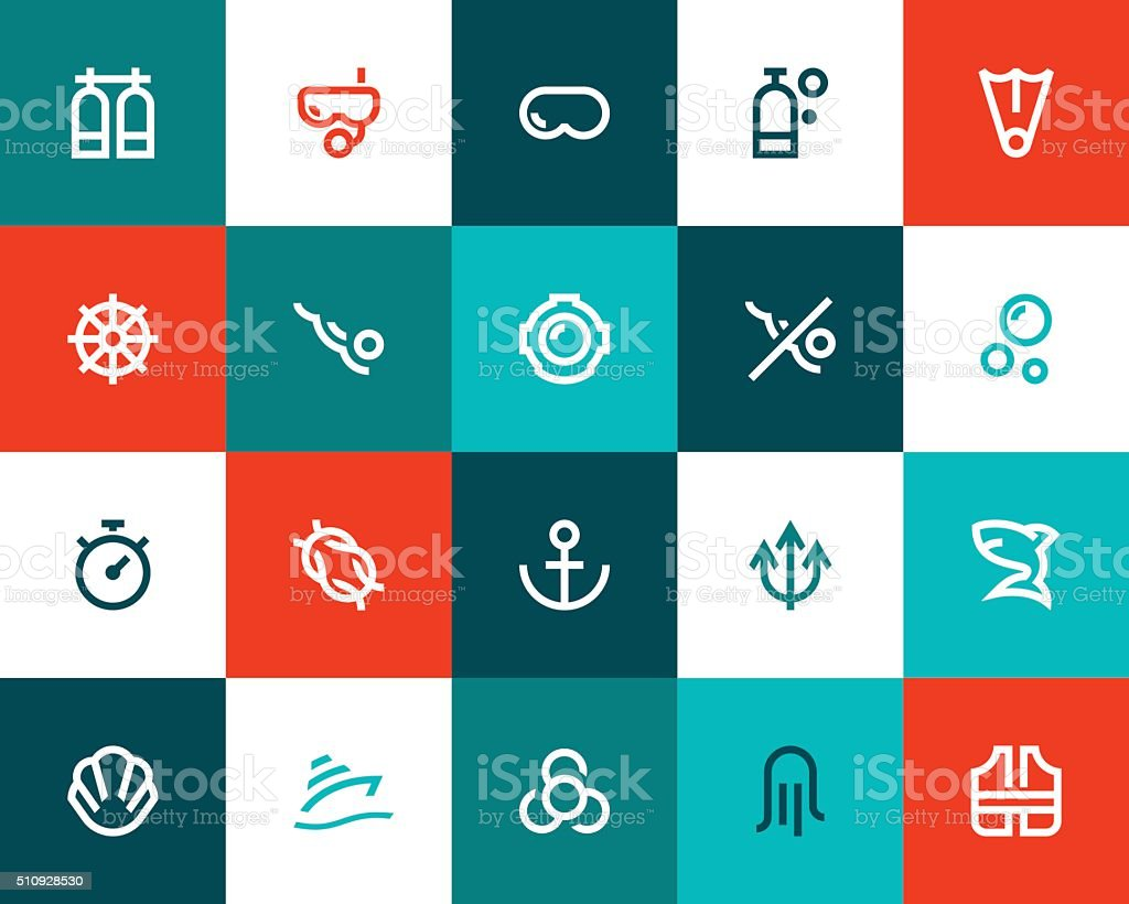 Scuba diving icons. Flat style vector art illustration