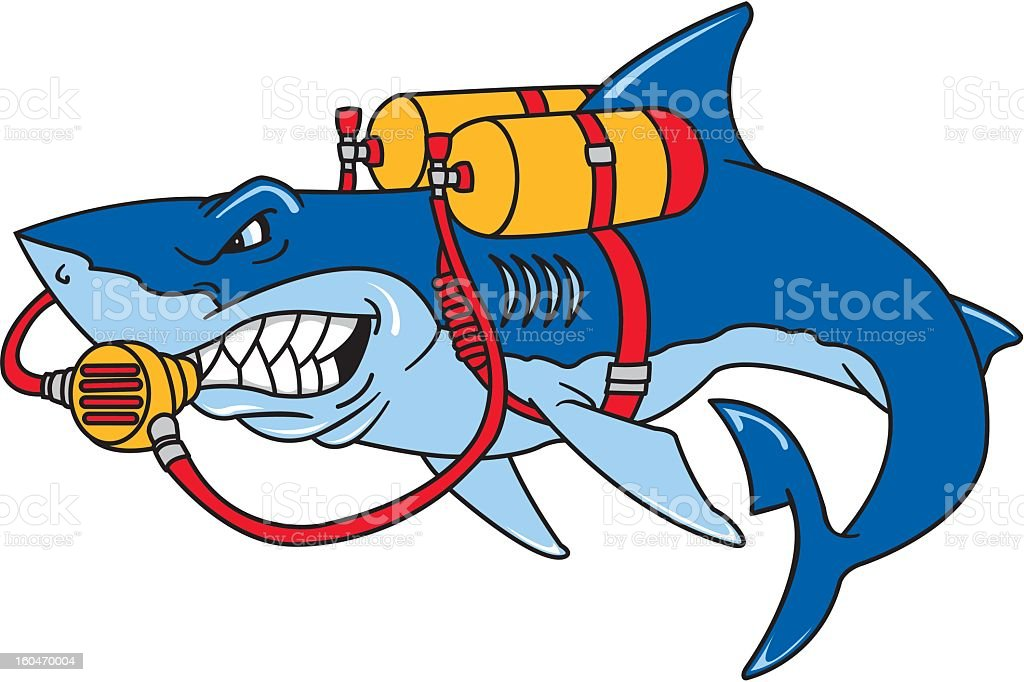 Scuba Diving Shark royalty-free stock vector art