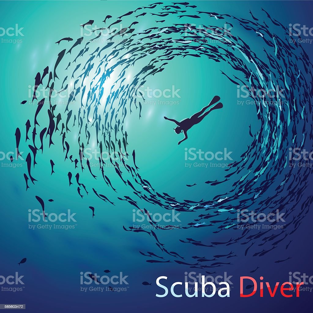scuba diving vector art illustration