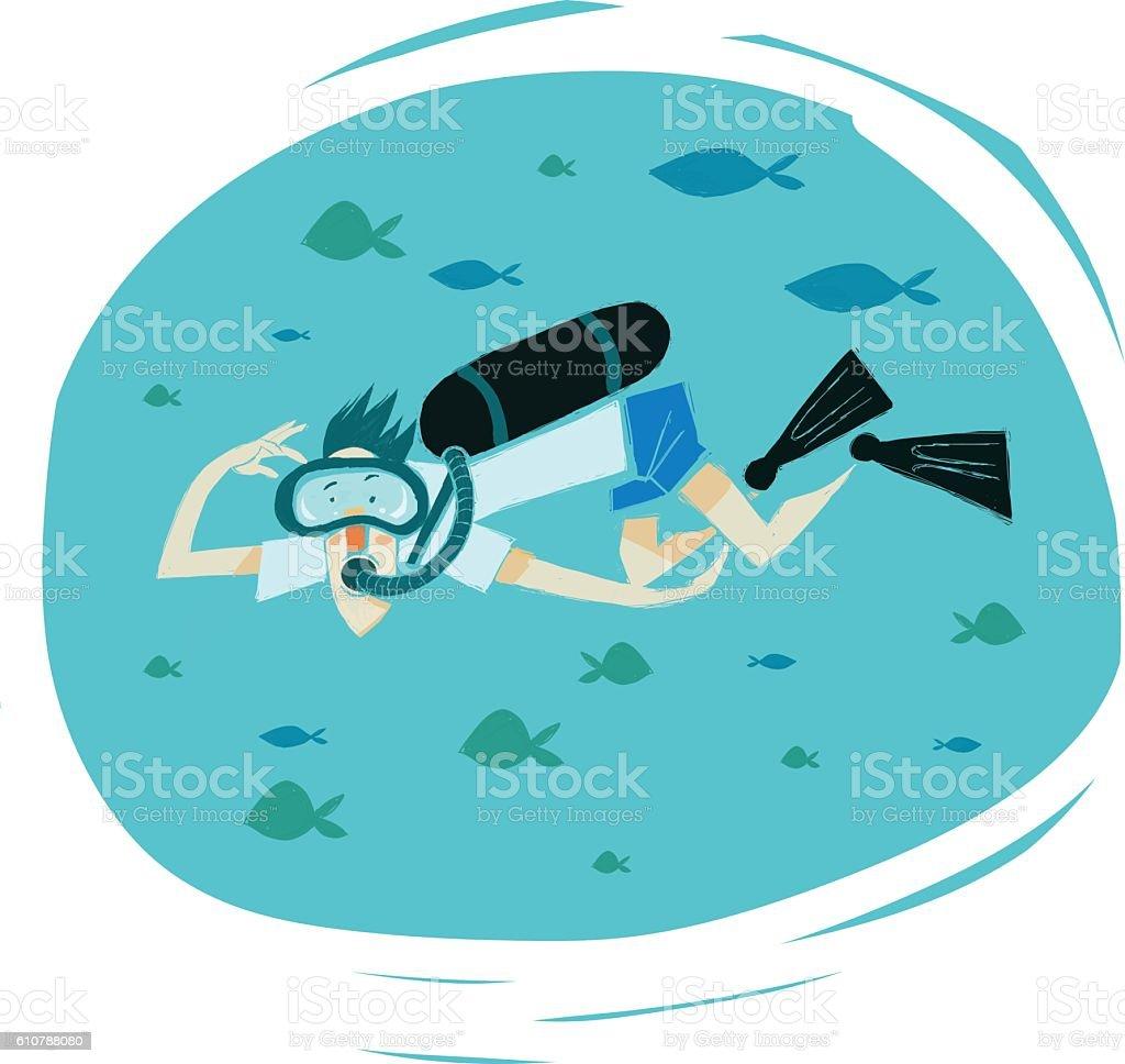 scuba diving vector art illustration