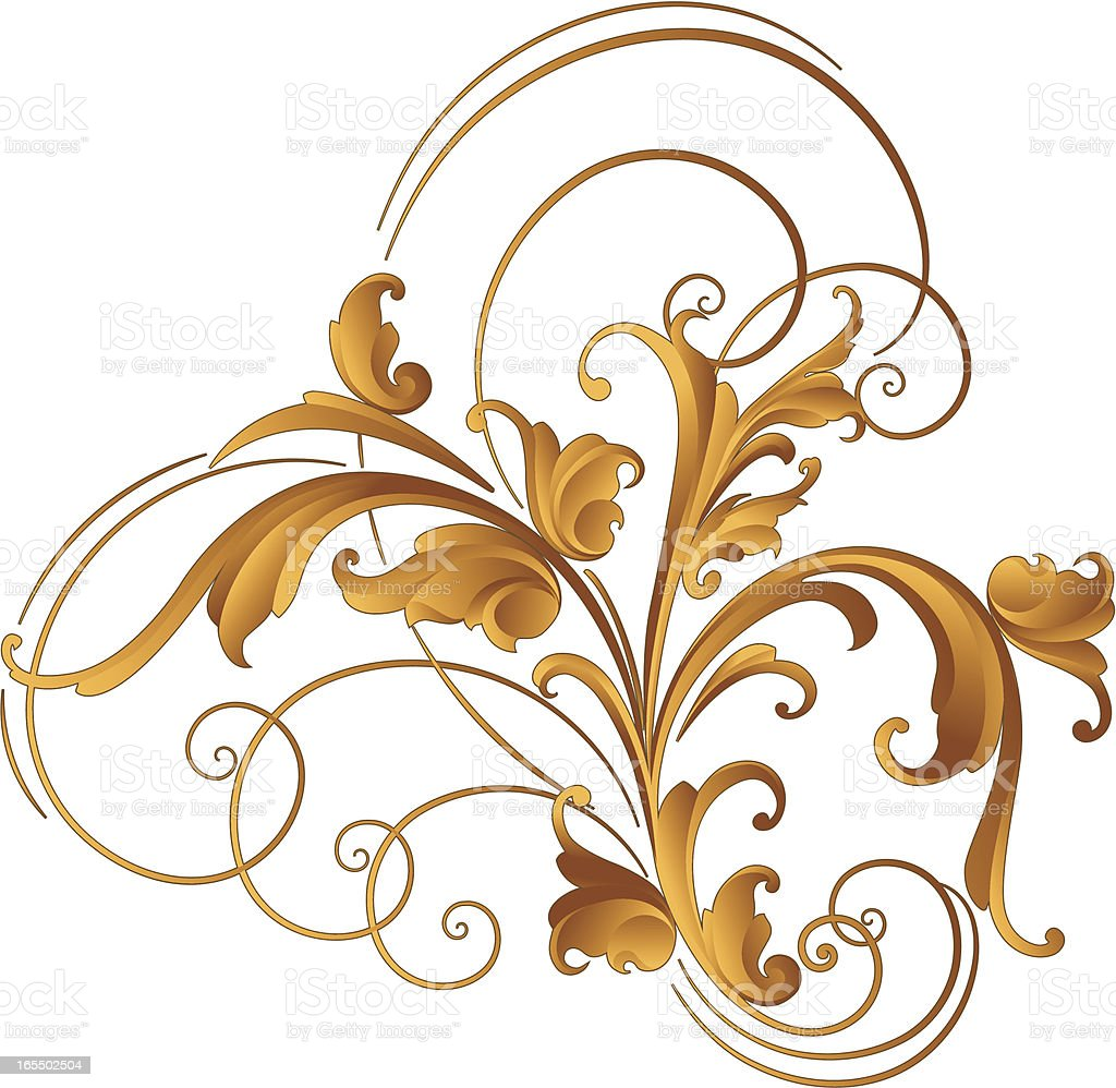 Sculpted Arabesque Open Scroll royalty-free stock vector art