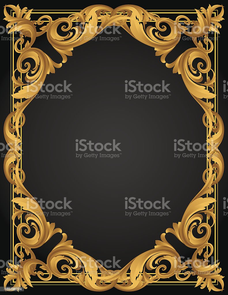 Sculpted Gold Vertical Page royalty-free stock vector art