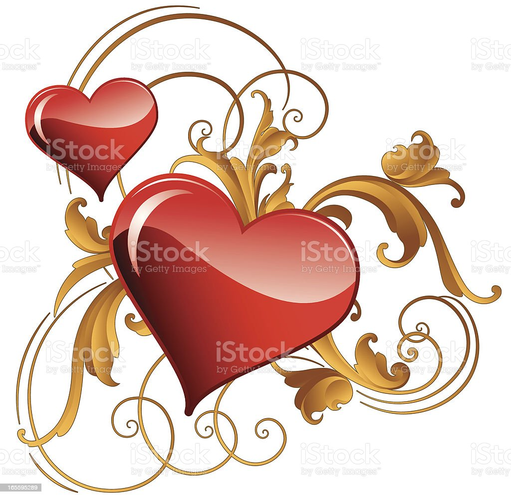 Sculpted Hearts and Scrolls royalty-free stock vector art