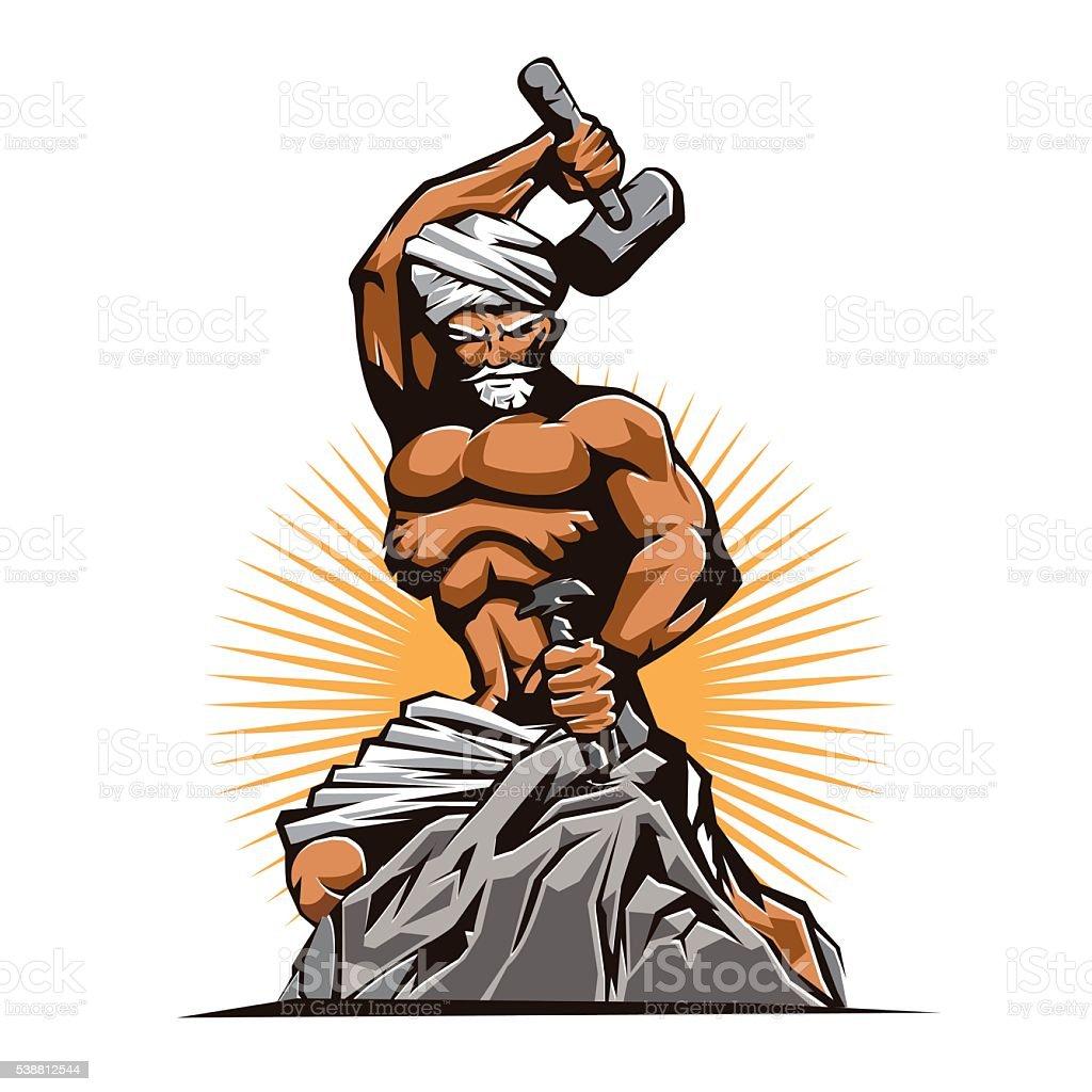 Sculptor Hammer Chisel Retro vector art illustration