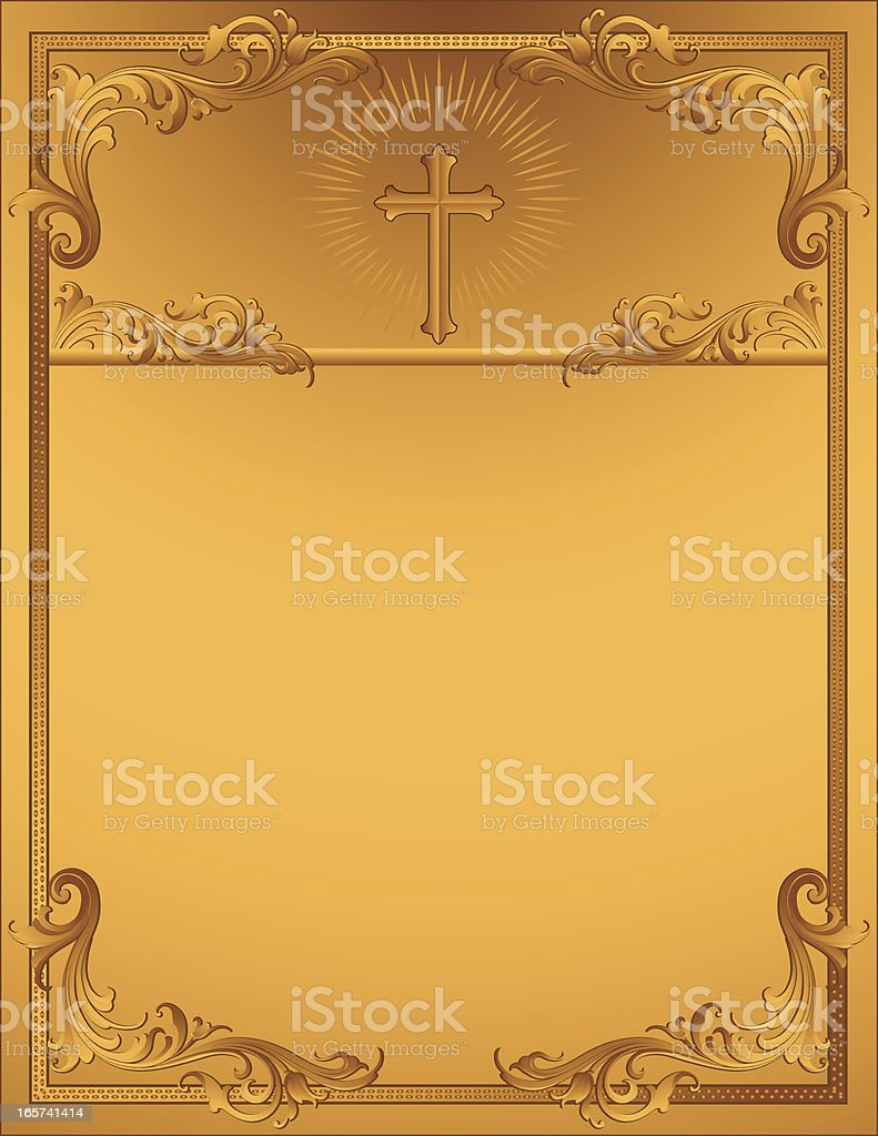 Sculptural Cross and Scrollwork vector art illustration