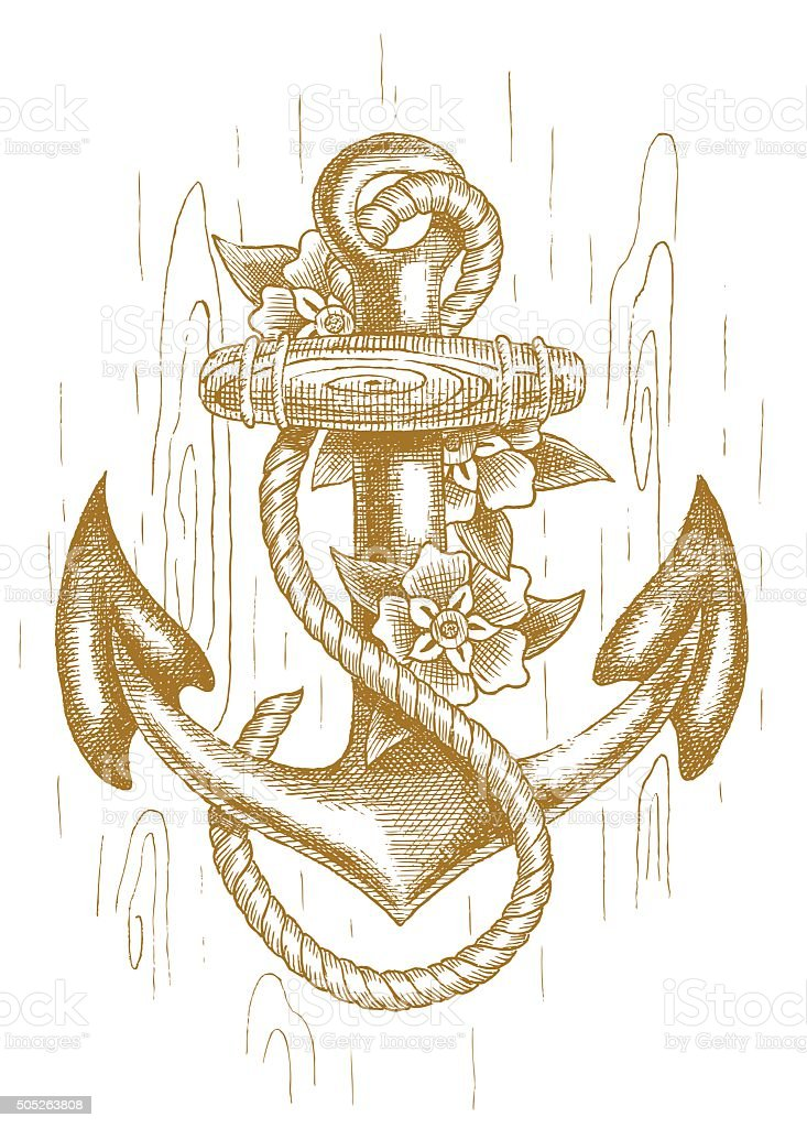 Sea anchor with rope and flowers drawn by hand vector art illustration