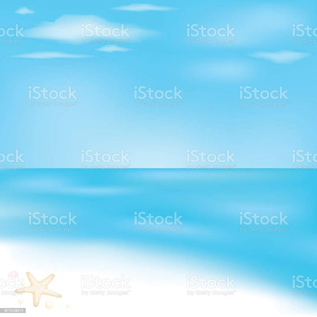 Sea And Beach vector art illustration