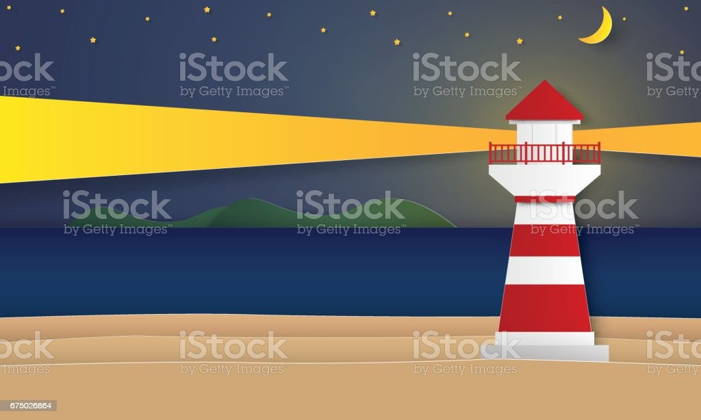 Sea and beach with lighthouse at night vector art illustration