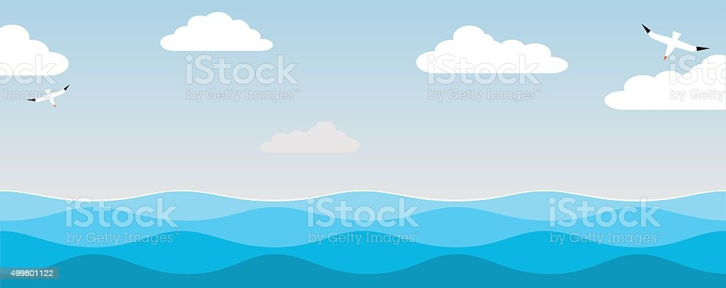 Sea and  birds of the sky. vector art illustration