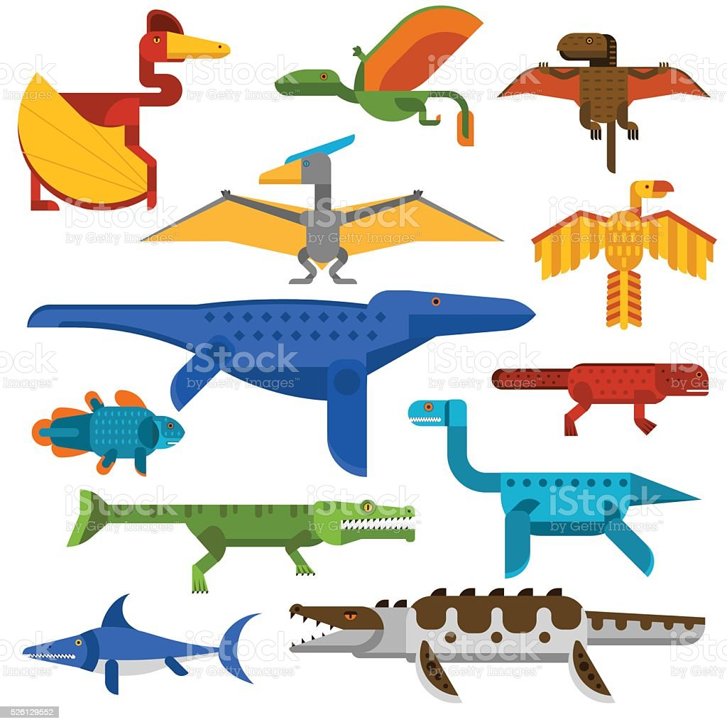 Sea and flying dinosaurs jungle forest wildlife animal vector illustration vector art illustration