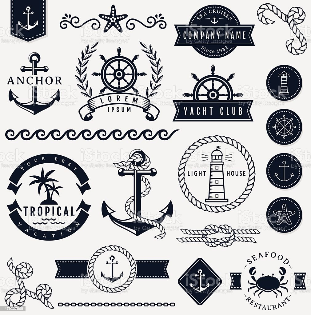 Sea and nautical design elements. Vector set. vector art illustration