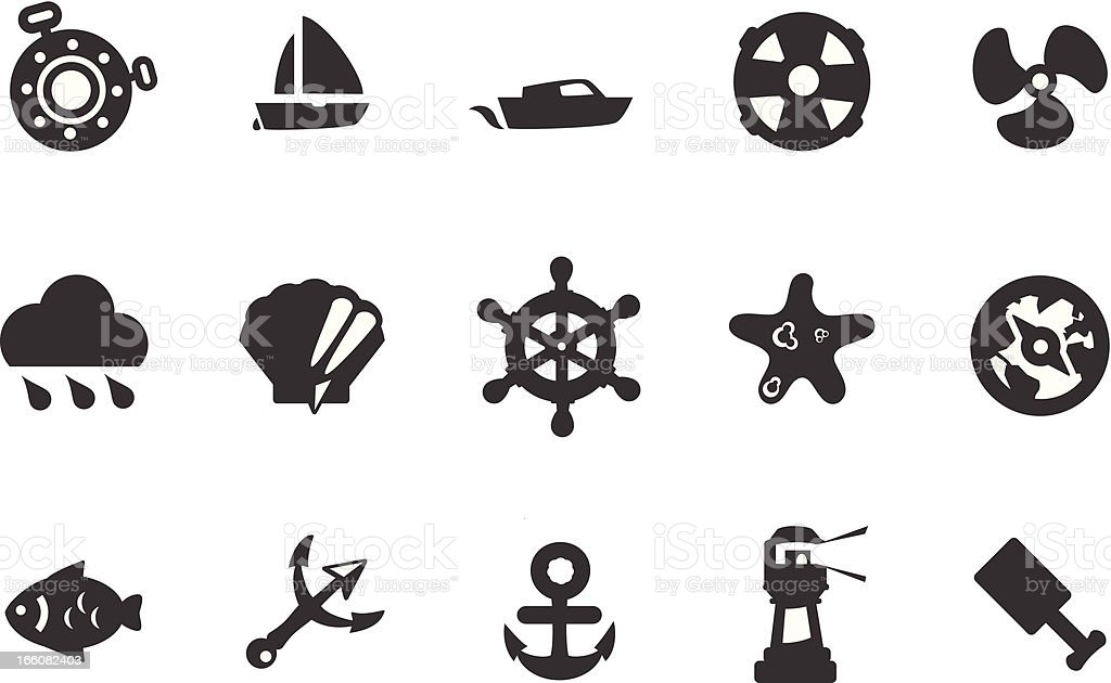 Sea and Nautical Icon Set vector art illustration