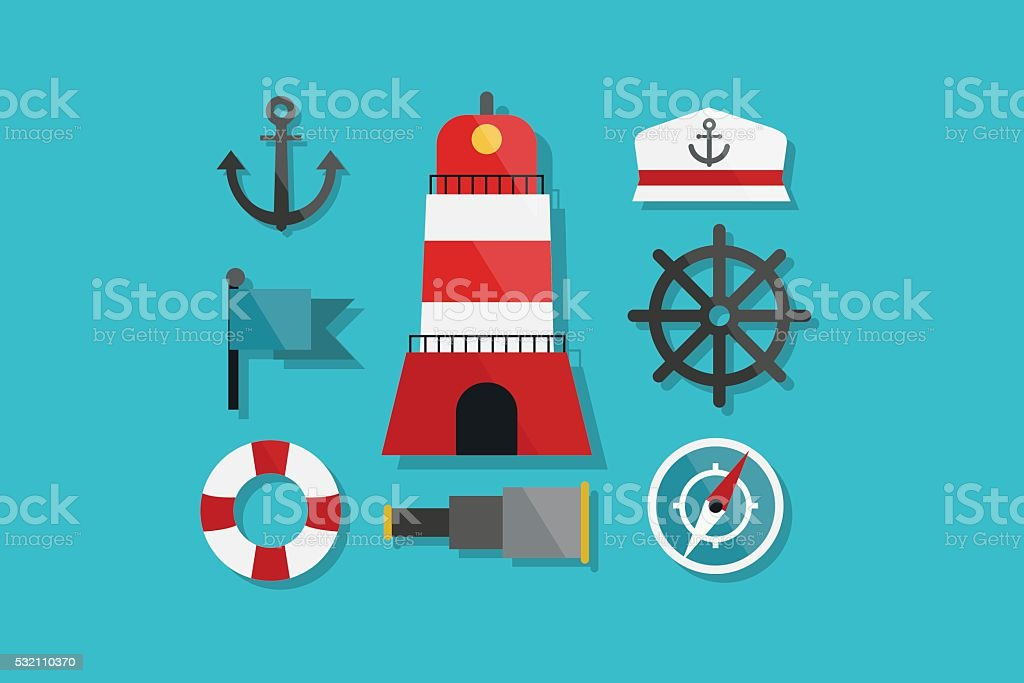 Sea and Nautical Marine Icons Flat Design vector art illustration