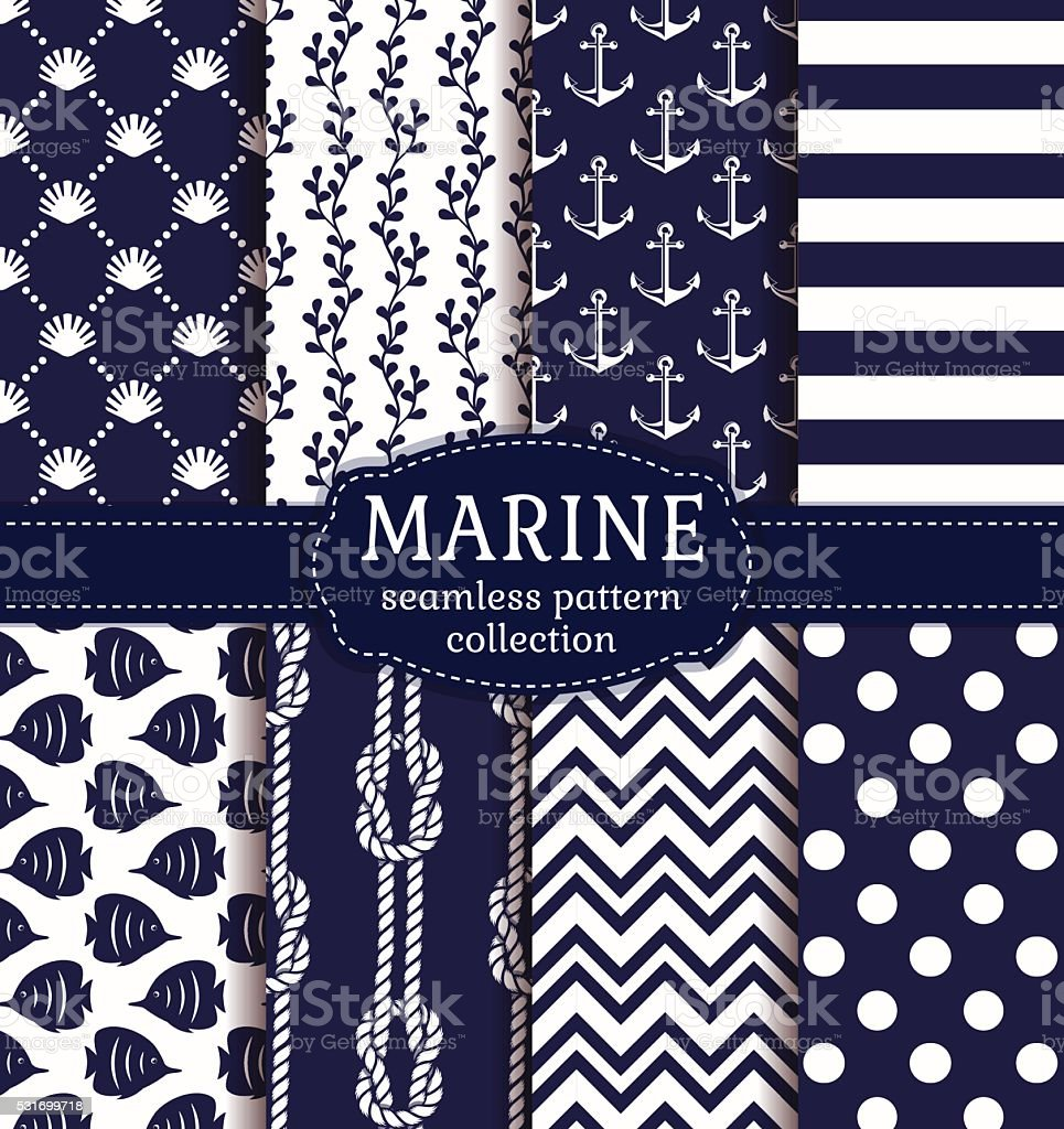 Sea and nautical seamless patterns set. vector art illustration