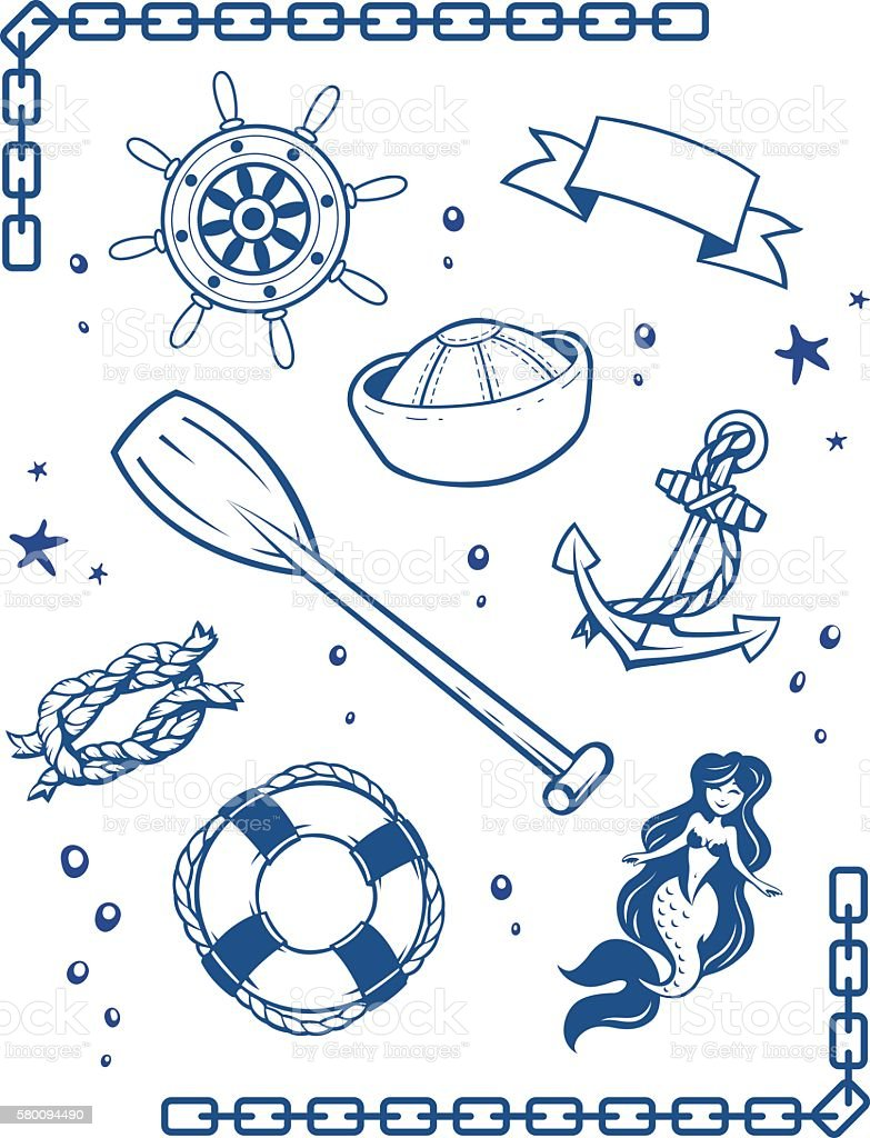 Sea and nautical symbols vector art illustration