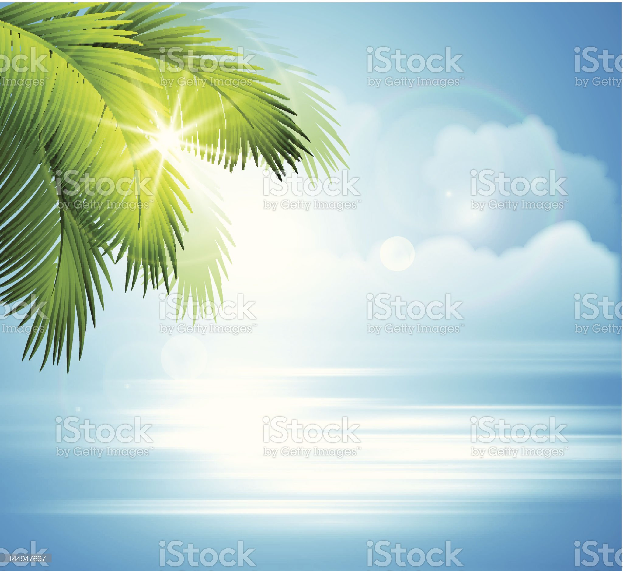 Sea and palm landscape royalty-free stock photo
