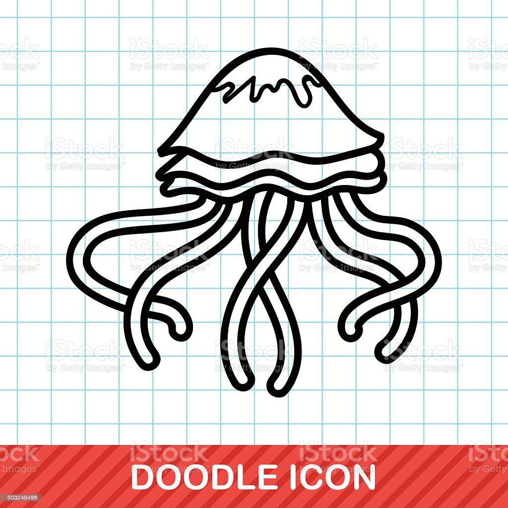 sea animal jellyfish doodle vector art illustration