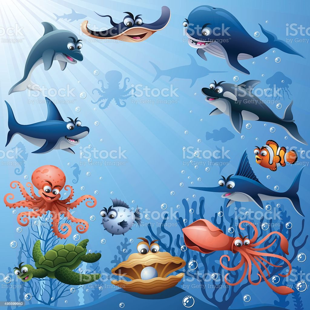 Sea Animals Family vector art illustration