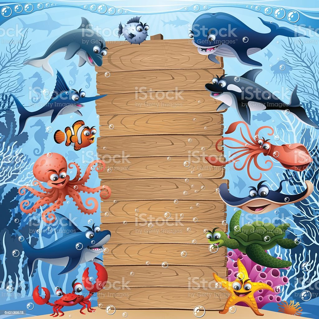 Sea Animals with Wooden Sign vector art illustration
