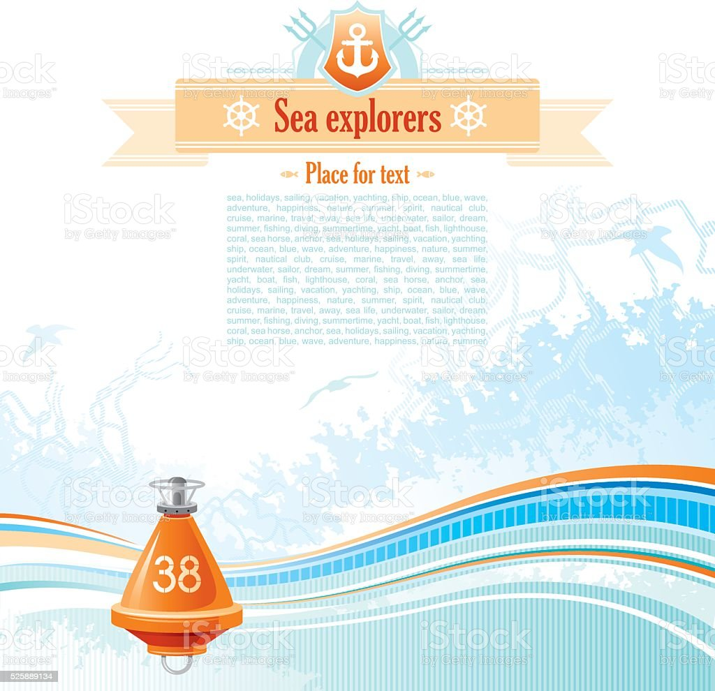 Sea background with net and seagulls: buoy vector art illustration