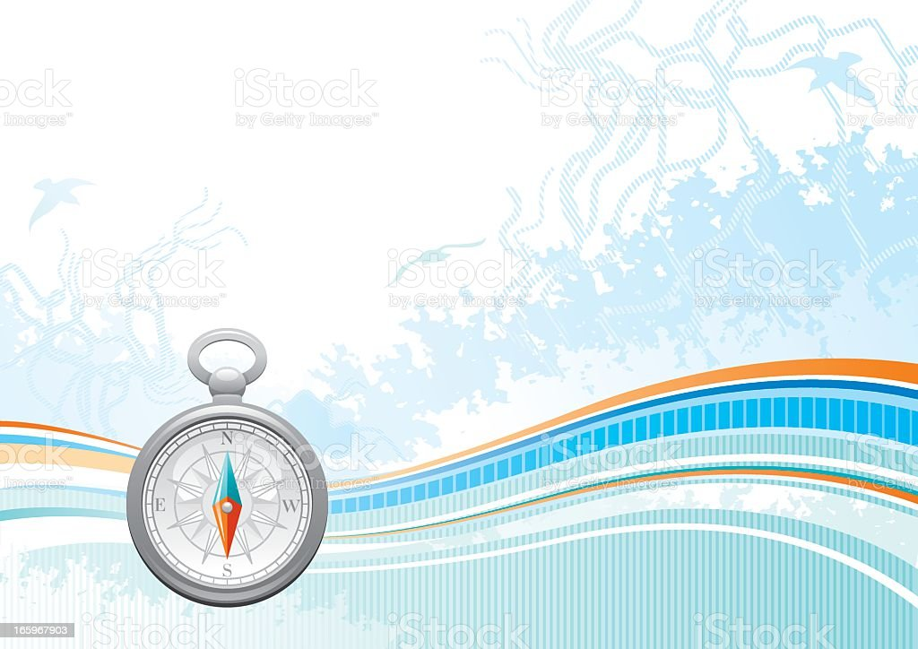 Sea background with net and seagulls: compass royalty-free stock vector art