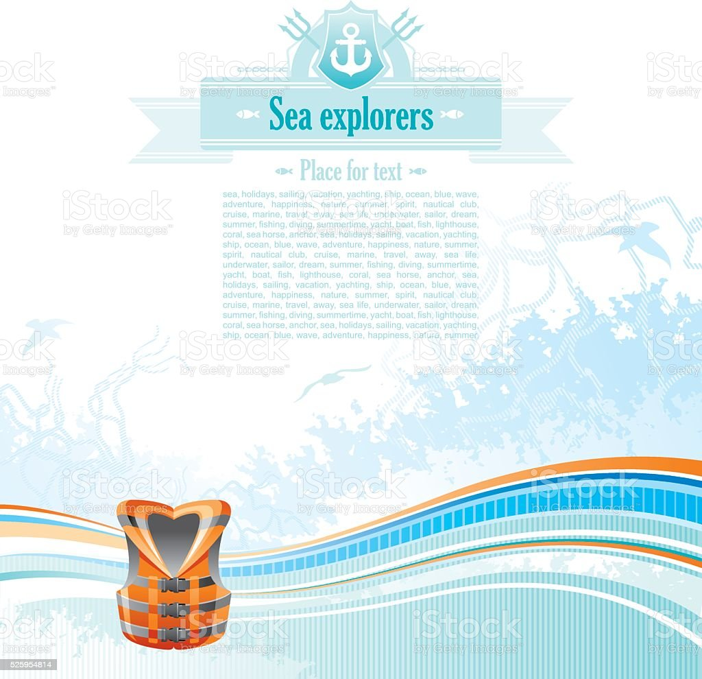 Sea background with net and seagulls: life vest vector art illustration