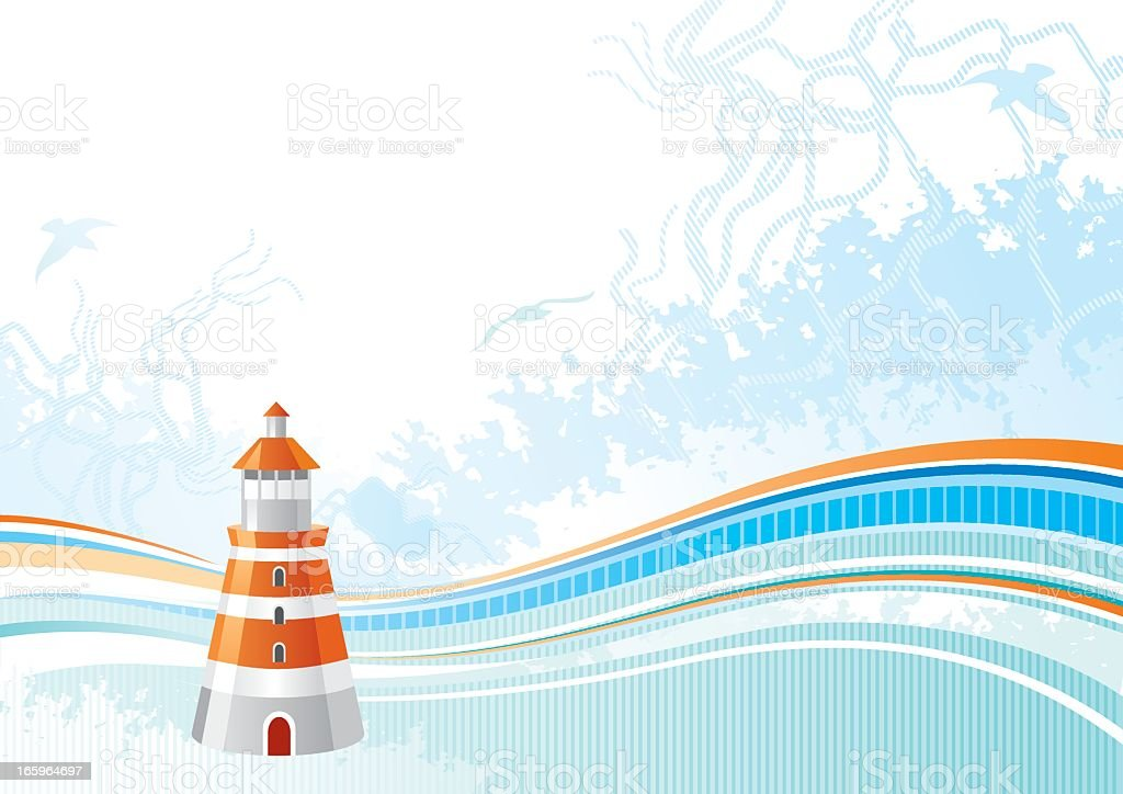 Sea background with net and seagulls: lighthouse royalty-free stock vector art