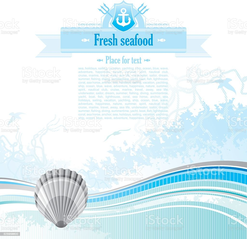 Sea background with net and seagulls: scallop vector art illustration