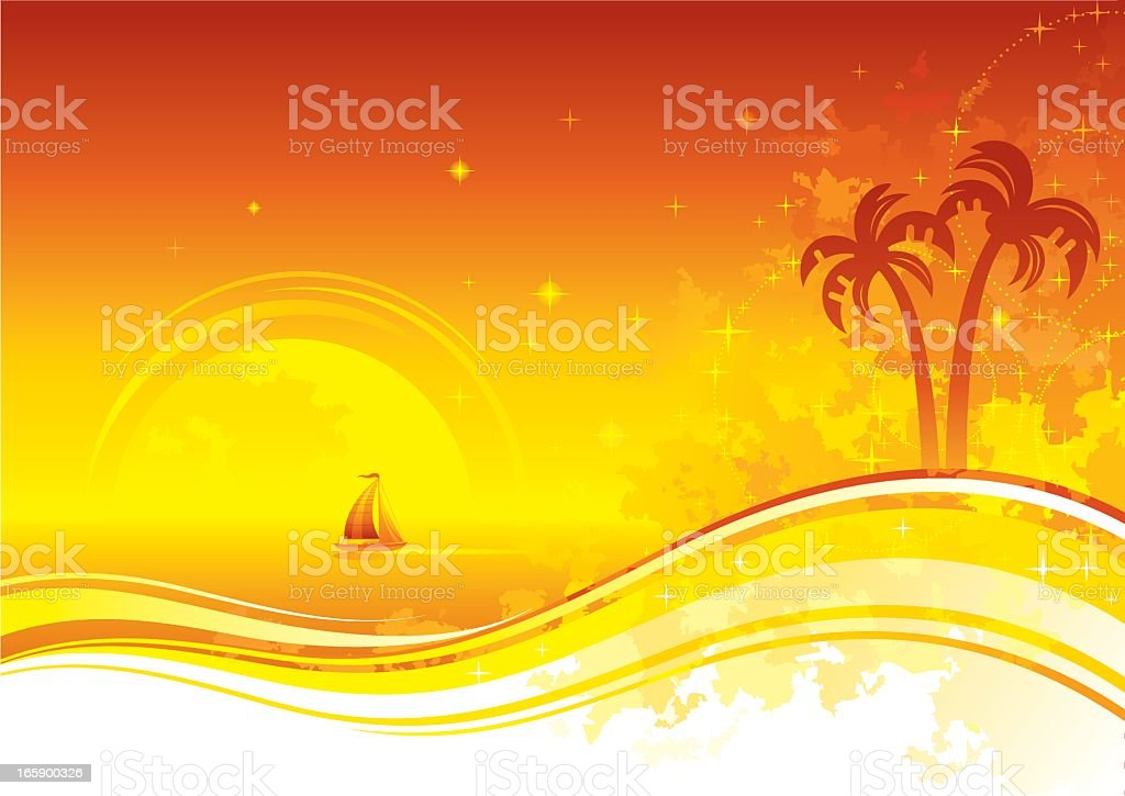 Sea background with palms and ship royalty-free stock vector art