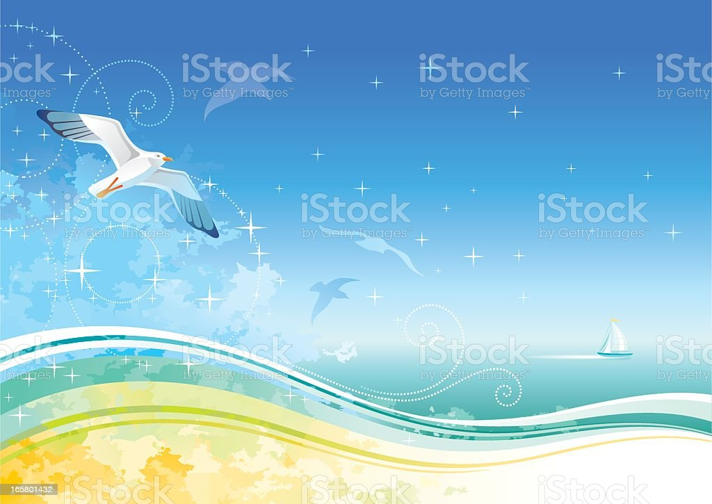 Sea background with ship and seagulls royalty-free stock vector art