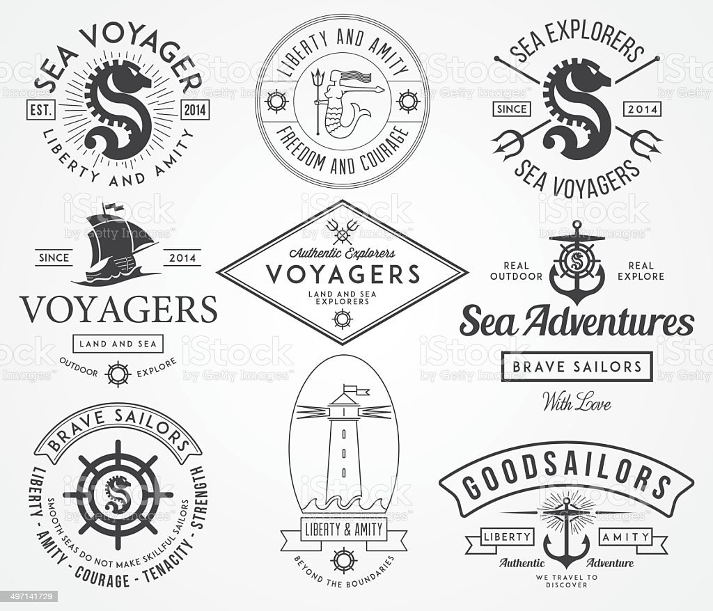 Sea Badges and labels vector art illustration