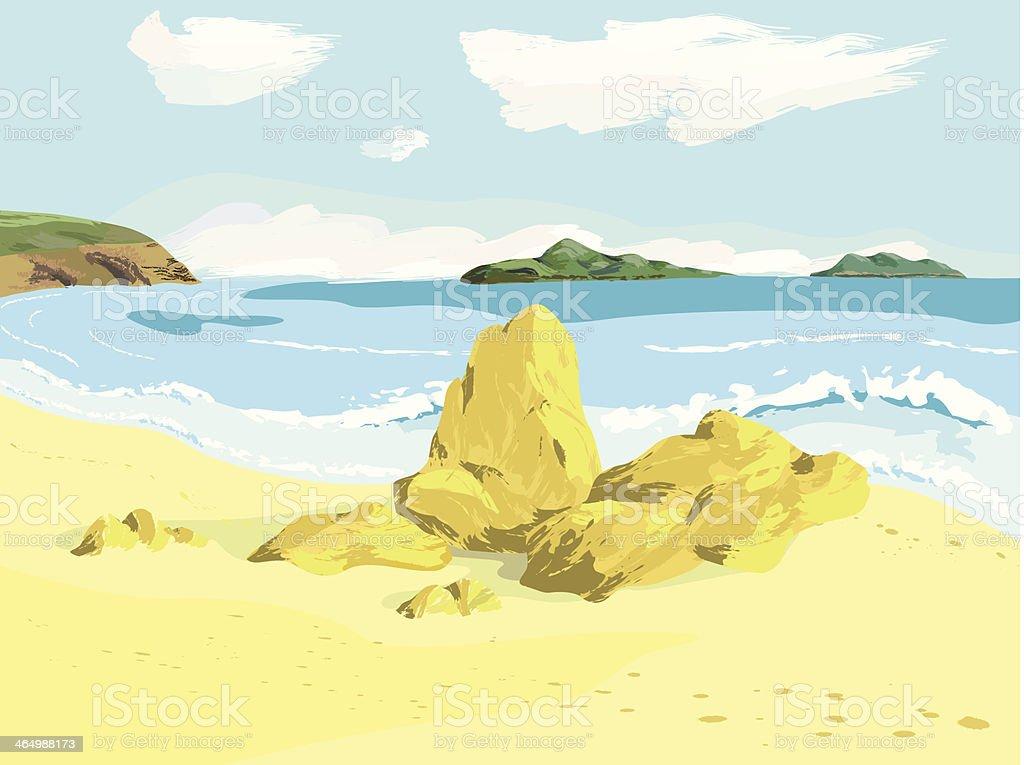 Sea bay vector art illustration