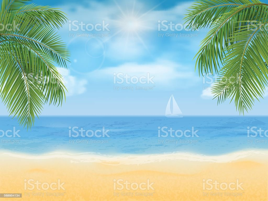 sea beach and palm tree vector art illustration