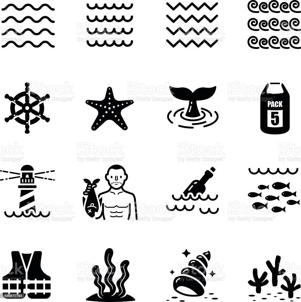 Sea Beach Wave Vector Icon Set vector art illustration