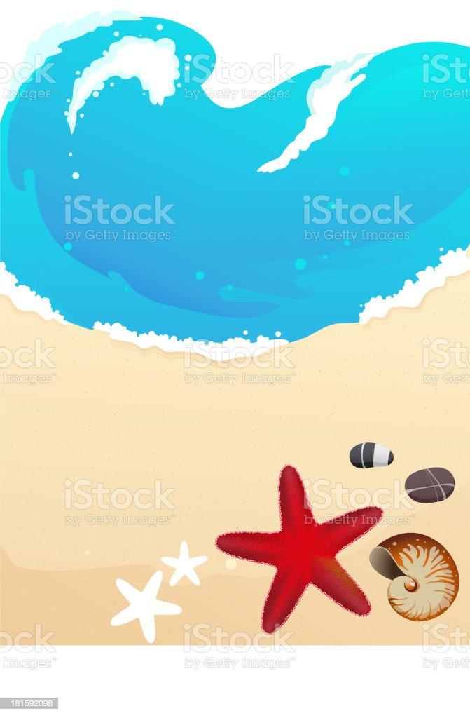 Sea beach with starfish royalty-free stock vector art