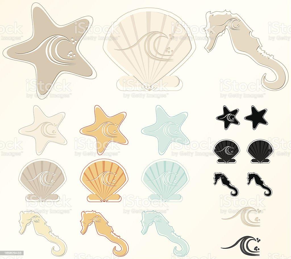 Meer, Stränden und Design-Elemente-Set Lizenzfreies vektor illustration