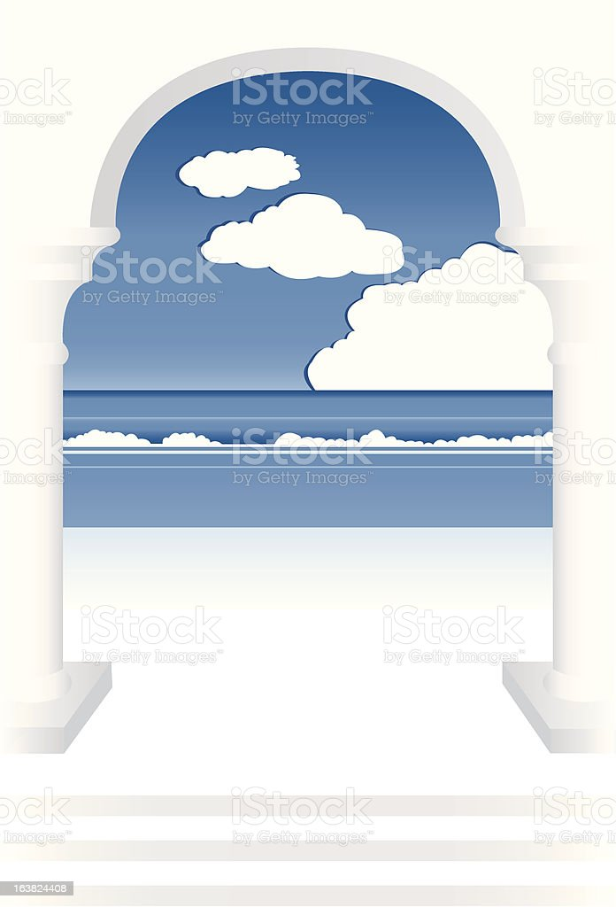sea between the columns royalty-free stock vector art