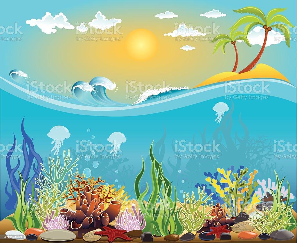 Sea bottom illustration vector art illustration