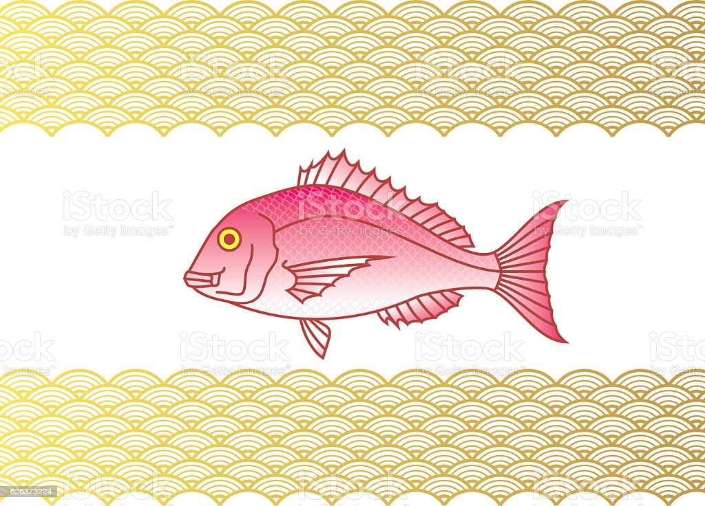 Sea bream and wave. Japanese style. vector art illustration