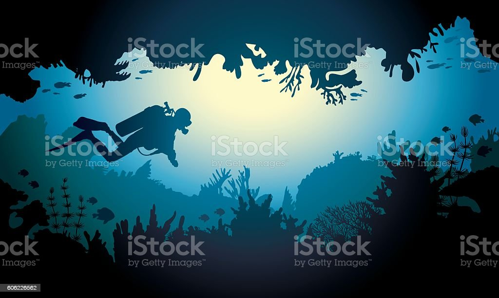 Sea cave with diver and coral reef. vector art illustration