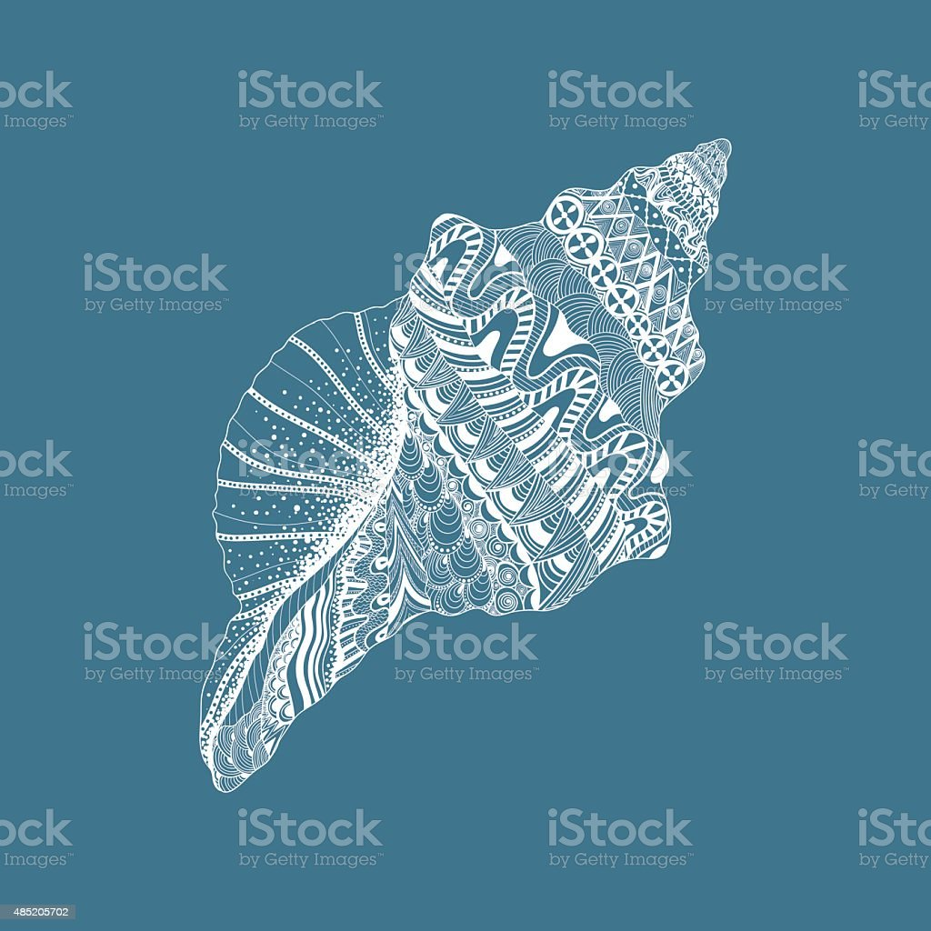 Zentangle stylized sea cockleshell. Hand Drawn aquatic doodle ve vector art illustration